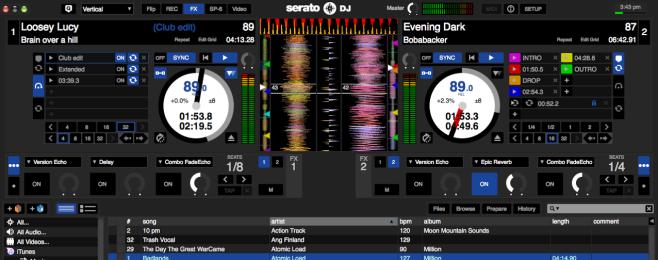 Serato DJ z usługą wypożyczania muzyki