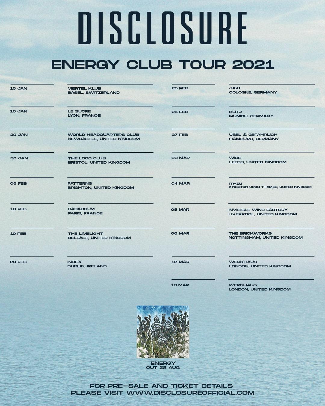 Disclosure - rozpiska trasy koncertowej 2021