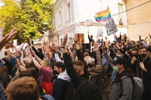 Protest przeciwko przemocy policji w kijowskiej dzielnicy klubowej